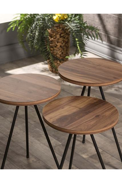 Triple Set Creative Round  Wooden  Coffee Tables 3