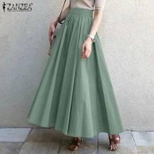 ZANZEA – Robe longue de printemps pour femmes, jupe Maxi élégante, taille haute, couleur unie, grande taille, 2021, décontracté, Robe à glissière