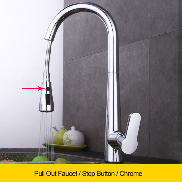 Black Pull Down Kitchen Faucet Sink Flexible Tap Gooseneck Hot Cold Water Mixer Faucets Retractable Stream Deck Three Way Taps