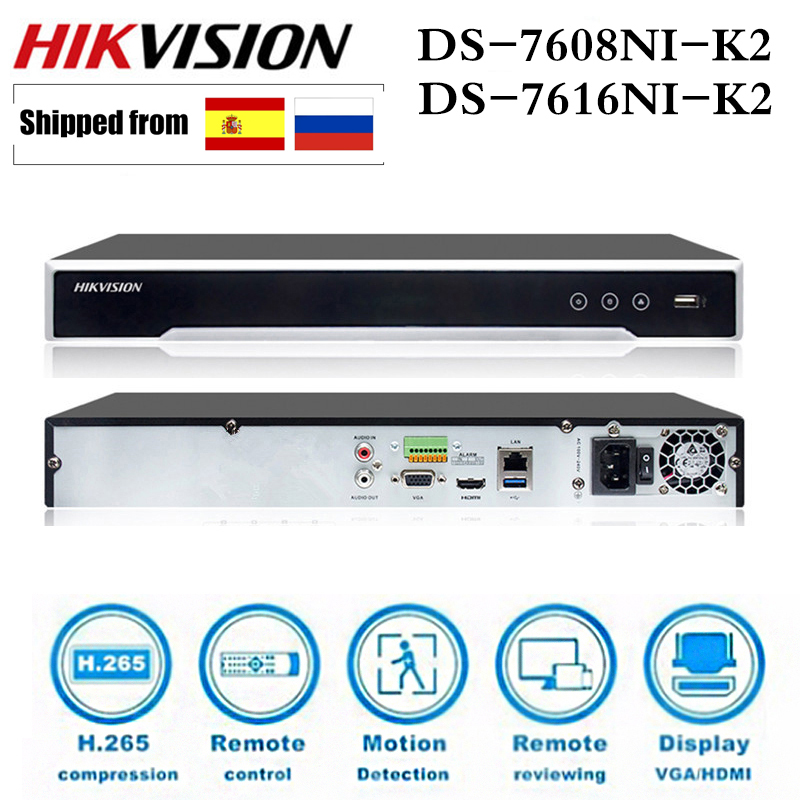 Hikvision DS-7608NI-K2 DS-7616NI-K2 8CH 16CH 4K H.265 NVR sieciowy rejestrator wideo