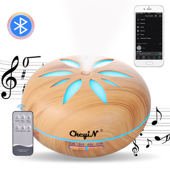 550ml Electric Bluetooth Humidifier Essential Aroma Oil Diffuser Ultrasonic Wood Air Humidifier USB Mini Mist Maker LED Light 49 saengq electric humidifier essential aroma oil diffuser ultrasonic wood grain air humidifier usb mini mist maker led light for