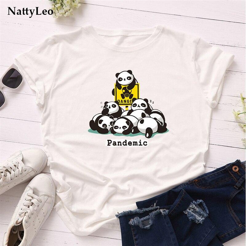 Летние женские футболки, 100% хлопок, футболка, забавная Футболка с принтом панды, футболки с круглым вырезом и коротким рукавом, футболка, жен...