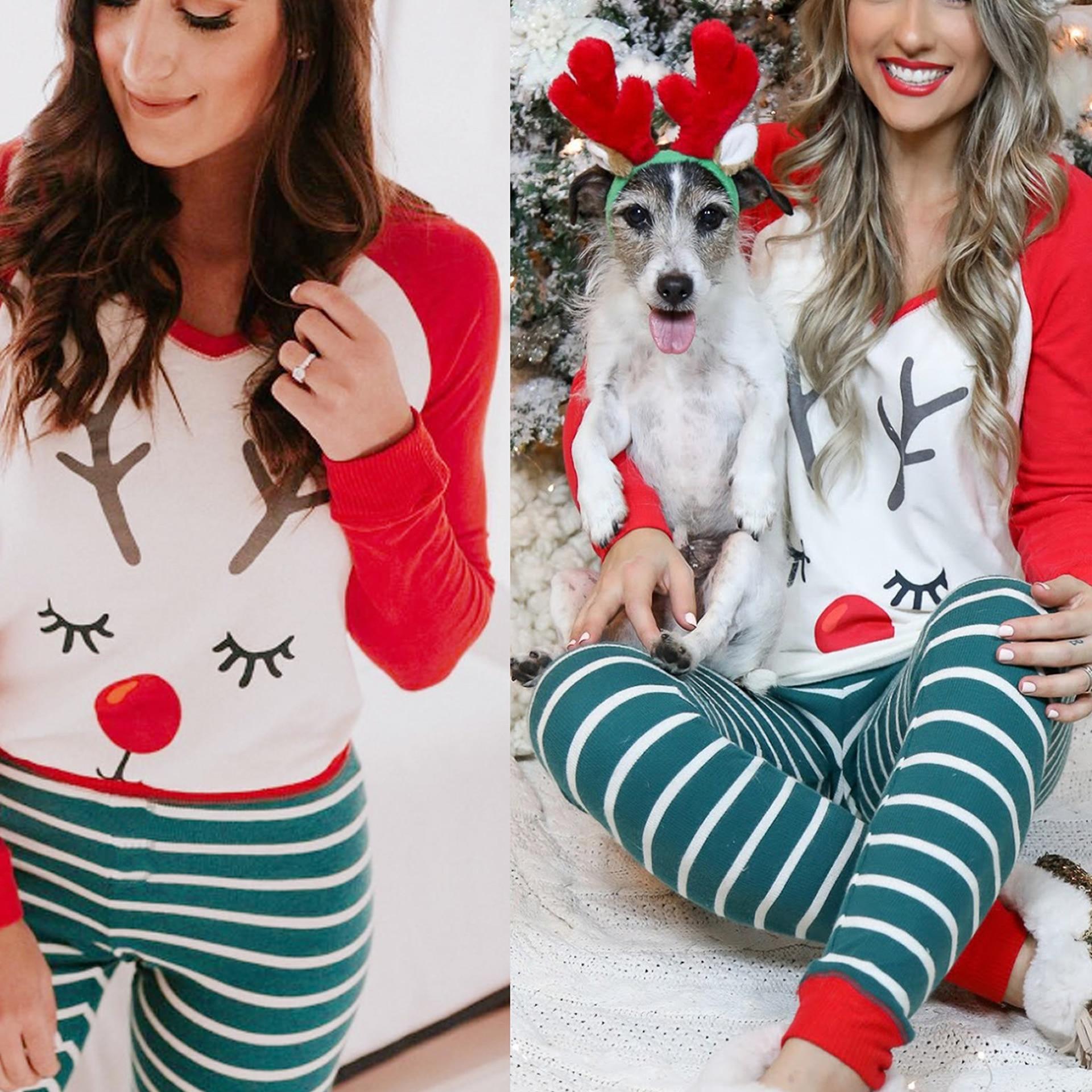 2019 New Christmas Pajamas For Women Winter Christmas Deer Printed Pajama Sets Girls Cute Tops And Pants Kawaii Pyjama Femme