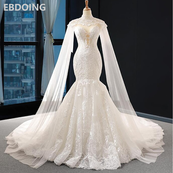 Vestido de novia de encaje de sirena, escote Corazón, corte de tren con mangas largas extraíbles, vestido de novia, vestidos de novia de talla grande