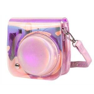 Image 2 - Fujifilm Instax Mini 9 8 futerał na aparat torba przezroczysta laser holograficzny aparat natychmiastowy na ramię torba na pasek obudowa ochronna etui
