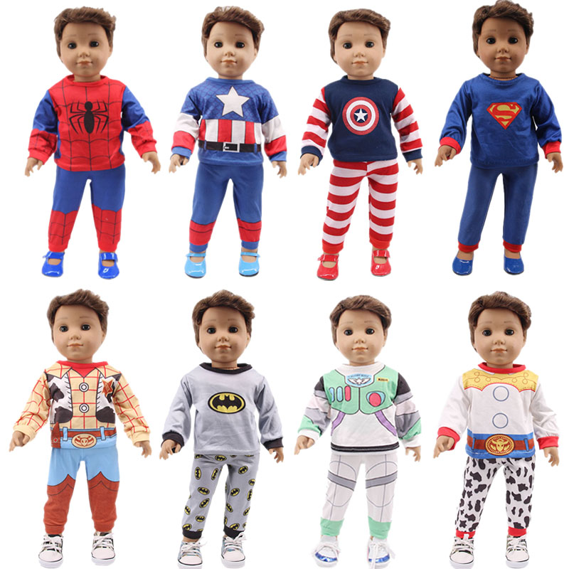 Captain America Spider-Man Superhero Pajamas For 18 Inch American 43Cm Born Generation Doll Clothes Accessories Christmas Gift