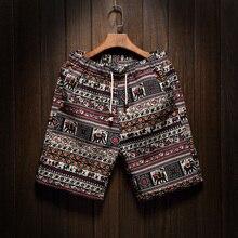 Male Large Size M-5XL Summer New Mens Fashion Boutique Linen Cotton Printing Cas