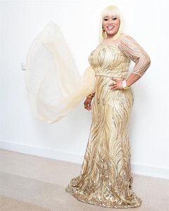 Image 4 - 2020 באיכות גבוהה אפריקאי פאייטים בד תחרה צרפתית נטו רקמת טול תחרה בד ניגרי חתונה מסיבת שמלת XY2651B 2