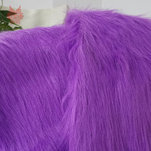 High grade 9cm long hair purple faux fur fabric for winter coat,vest,cosplay stage decor free shipping 150*50cm 1piece SP2221(China)