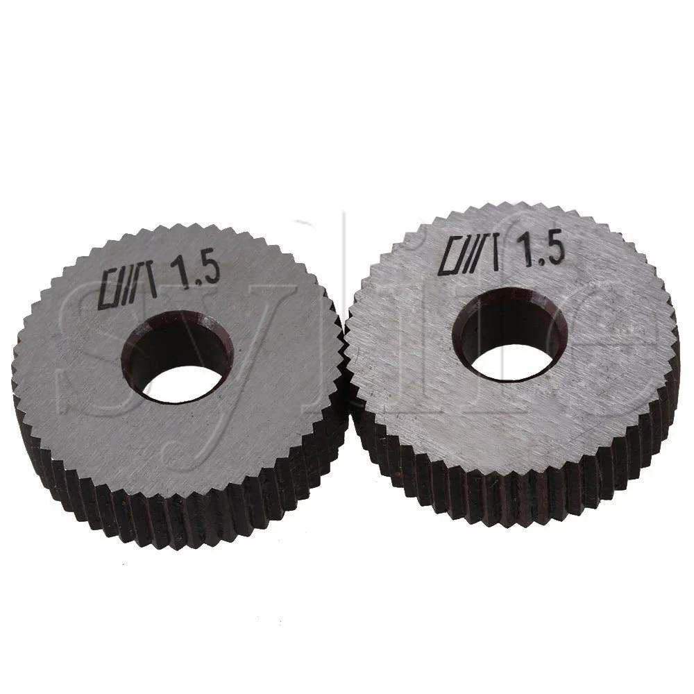 28x8x8mm Silver Steel Ruled Knurling Tool Single Straight Wheel Dia Pack Of 2