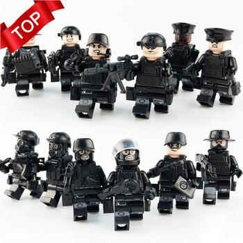 12 sztuk zestaw wojskowe siły specjalne żołnierze cegły figurki broń broń kompatybilny Legoings uzbrojony SWAT klocki dla dzieci zabawki tanie i dobre opinie MINOCOOL Educational Small Rubber Boat Unisex 6 lat Bloki none Plastic
