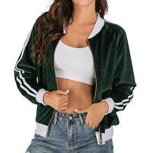 Women Basic Jackets Winter Autumn Velvet Long Sleeve Zipper Casual Short Jacket Girl Baseball Coat Jackets Bomber Famale Outwear