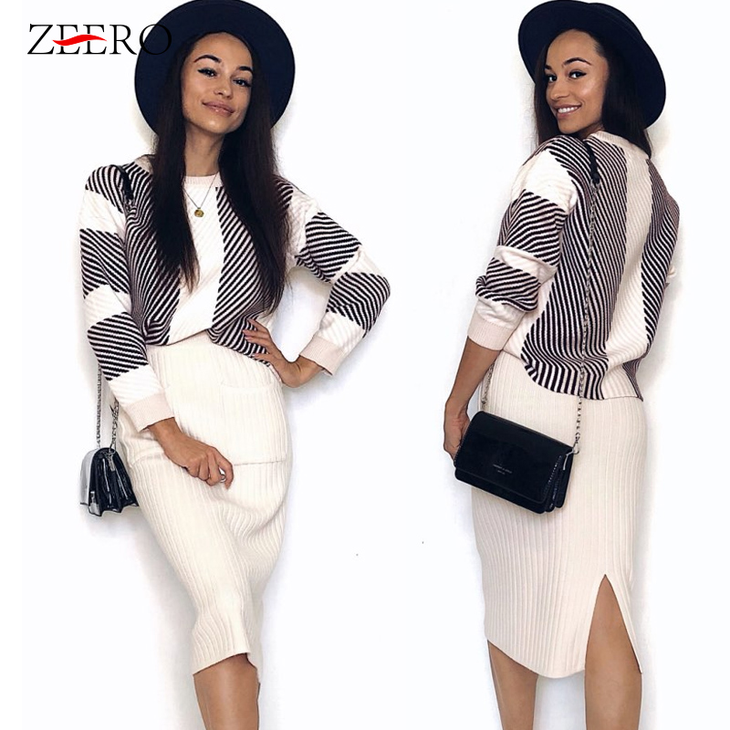 Autumn Spring knitted Set Womans Suits Thick Loose Plaid Sweater + Pencil Skirt Set For Women Suit Clothing 2 Piece Set Knit
