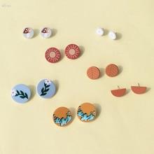 Aomu 2020 coréia bohemia colorido flor cogumelo padrão geométrico redondo pequeno parafuso prisioneiro brincos para jóias femininas