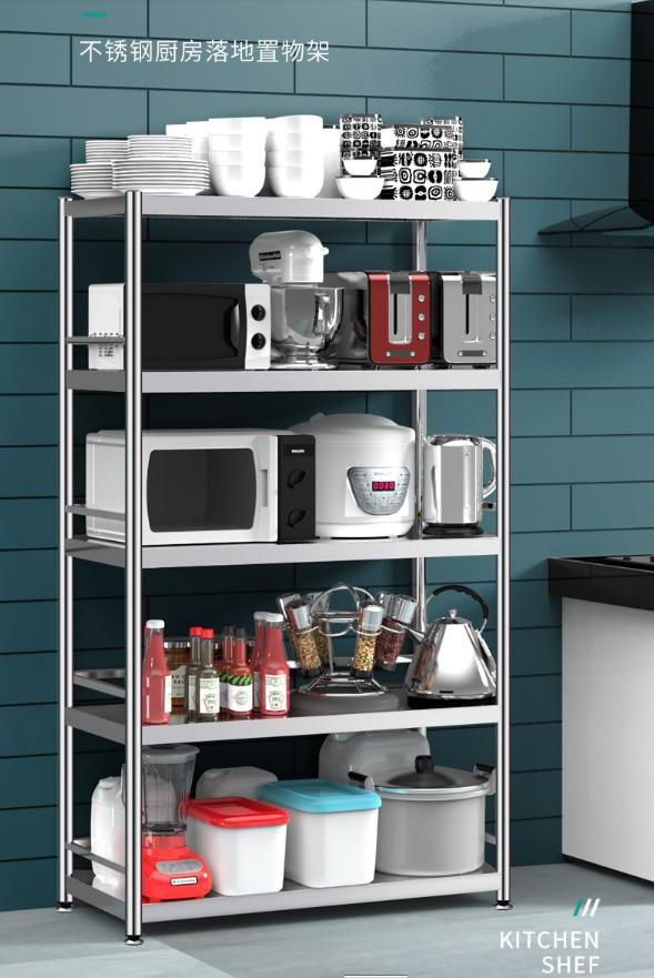 Stainless steel kitchen shelf floor multi-layer household microwave oven storage shelf 5-layer 6-layer storage rack