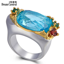 DreamCarnival 1989 Delicate Feminine Wedding Ring for Women Wide Design Lovely Colors Big Blue Zircon Must Have Jewelry WA11774