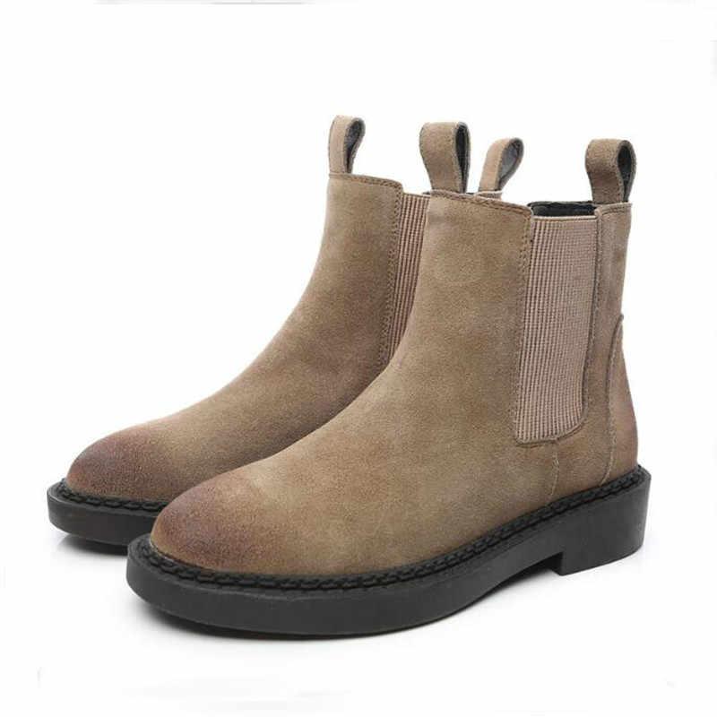Phụ Nữ Mắt Cá Chân Giày Da Thật Chính Hãng Da Mùa Đông Tuyết Giày Nữ Giày Bốt Martin Bò Da Lộn Nữ Cao Chất Lượng Giày Botas Mujer