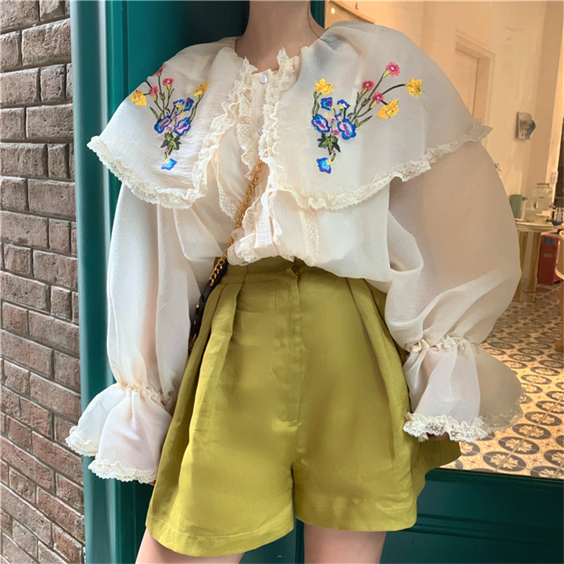 Alien Kitty Retro Embroidery Floral Sweet Ruffles Apricot Prairie Chic Thin Fairy Female Flare Sleeves Peter Pan Collar Shirts