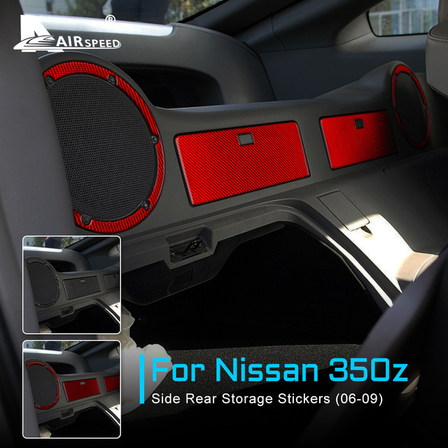 FLUGGESCHWINDIGKEIT für Nissan 350Z 2006 2009 Zubehör Carbon Fiber Innen Trim Auto Seite Hinten Lagerung Zurück Handschuh Box Lautsprecher aufkleber