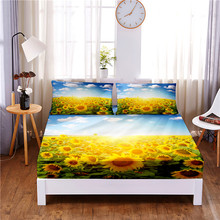 Mattress-Cover Bed-Sheet Garden Pillowcases Print with Elastic-Band Four-Corners Sunflower