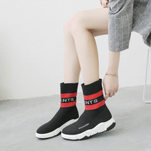 Elastic Boots 2019 Women Must Have Sneaker Mid-Calf with Printed Letters MQ023