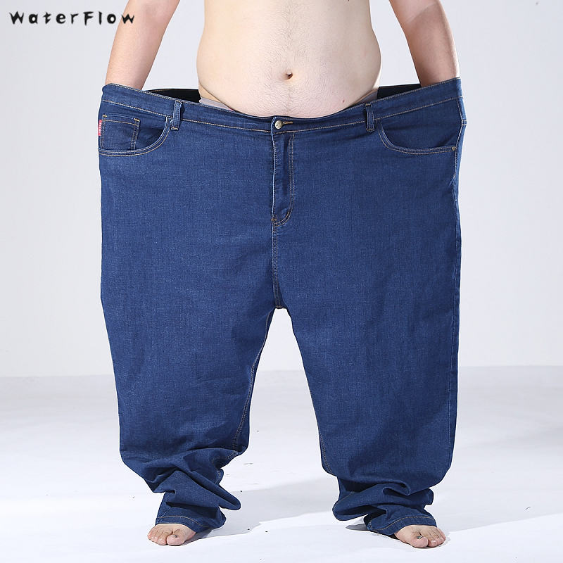 2019 new men oversized   jeans   Men loose plus size Big men elasticity trousers pants Plus szie 160KG 170KG 180KG 54 56   jeans   fat