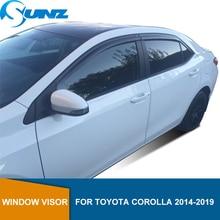 Deflectors หน้าต่างด้านข้างสำหรับ Toyota Corolla 2014 2015 2016 2017 2018 2019 Visor Vent Shade Sun Rain Deflector ยาม SUNZ