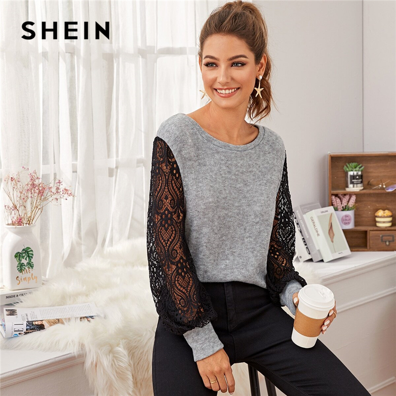 SHEIN Grey Contrast Lace Colorblock Casual Sweater Women 2020 Spring Bishop Sleeve Winter Ladies Basic Sheer Sweaters Tops