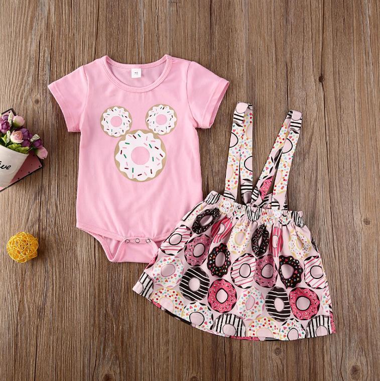 Baby Girls Tassels Print Romper with Bowknot Headband Summer Clothing Set Pink