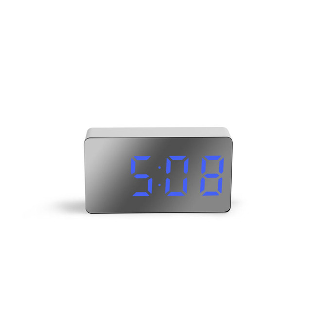 LED Multifunctional Mirror Clock Digital Alarm Snooze Display Time Night LCD Light Table Desktop USB 5v/No Battery Home Decor 2