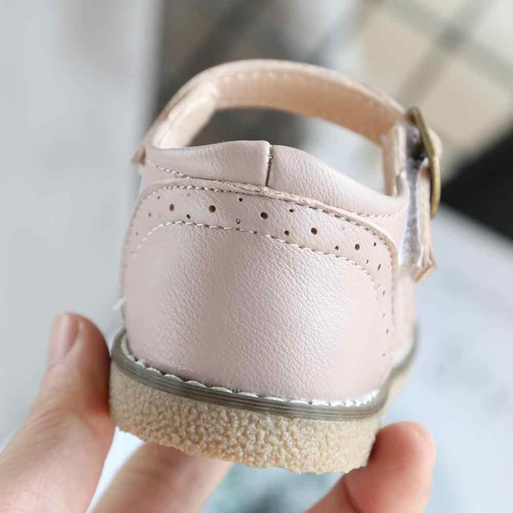 Kinderen Leren Schoenen Anti-Slip Effen Kleur Adem Kids Baby Meisjes Jongens Zachte Britse Party Student Rubber Baby schoenen Sandalen