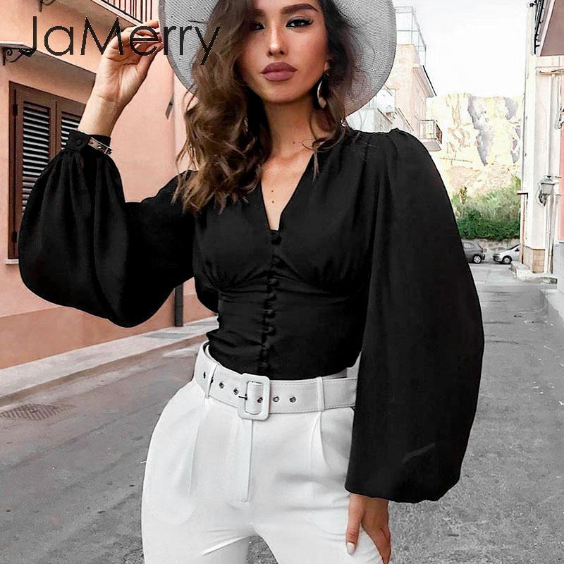 JaMerry Lantern Sleeve Office Ladies Blouses V Neck Buttons Slim Women Blouse Shirts Chic Autumn Winter Female Black Tops Blusas