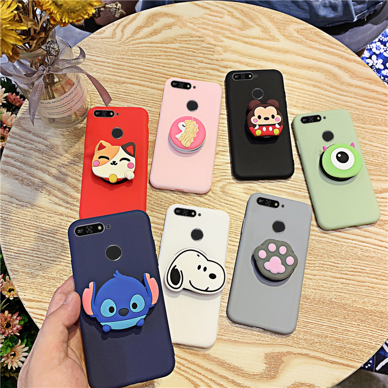 3D Silicone Cartoon <font><b>Case</b></font> For <font><b>Huawei</b></font> Y7 <font><b>Y6</b></font> Y5 Prime Pro <font><b>2019</b></font> 2018 Girl Cute Phone Holder Stand Soft <font><b>Cover</b></font> Funda Coque image