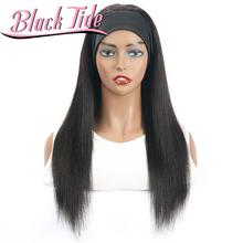 Czarna fala peruka z prostymi włosami opaska na głowę peruki ludzki włos Remy peruwiański pałąk peruki 150 pałąk peruka ludzki włos dla czarnych kobiet tanie tanio Black Tide CN (pochodzenie) Remy włosy Proste Peruwiański włosów Średnia wielkość Jasny brąz Wszystkie kolory Swiss koronki