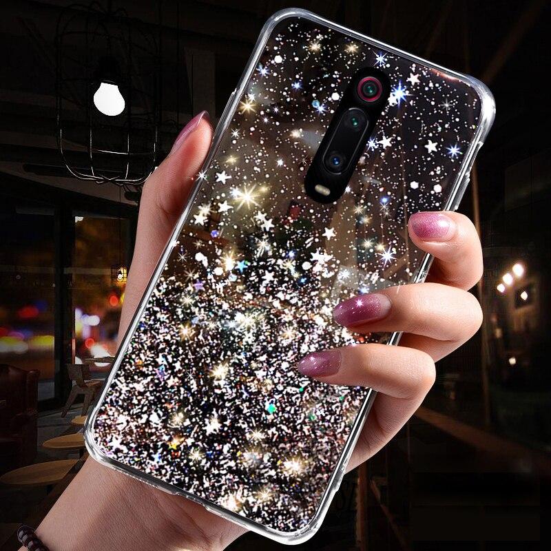 Блестящий блестящий чехол с блестками для Xiao mi Red mi K20 Note 7 8 5 6 pro, мягкий чехол для mi A3 CC9 CC9E 9 8 SE Lite 6X A2 9 TPro, чехол для телефона