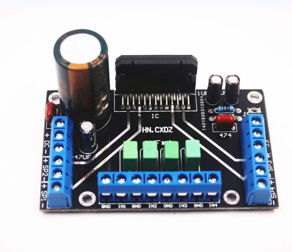 DC 12 В TDA7388 четырехканальный 4x41 Вт аудио усилитель мощности плата BTL PC Автомобильный усилитель