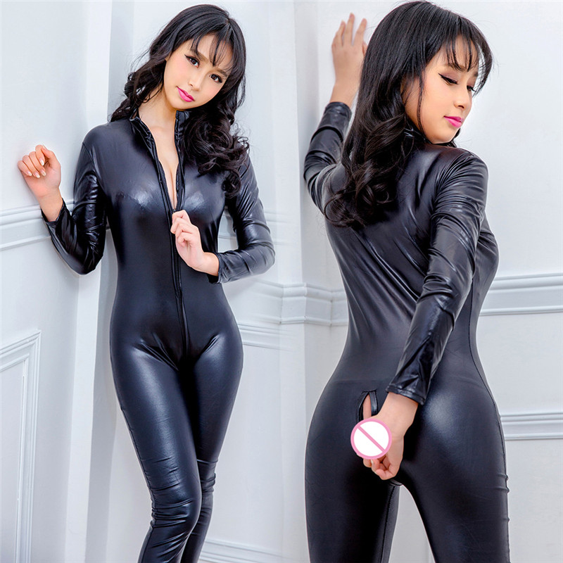 Sexy Lingerie Women Porno Leather Solid Sexy Underwear Erotic Babydoll Bodysuit Zipper Crotchless Sexe Lenceria Catsuit Costumes
