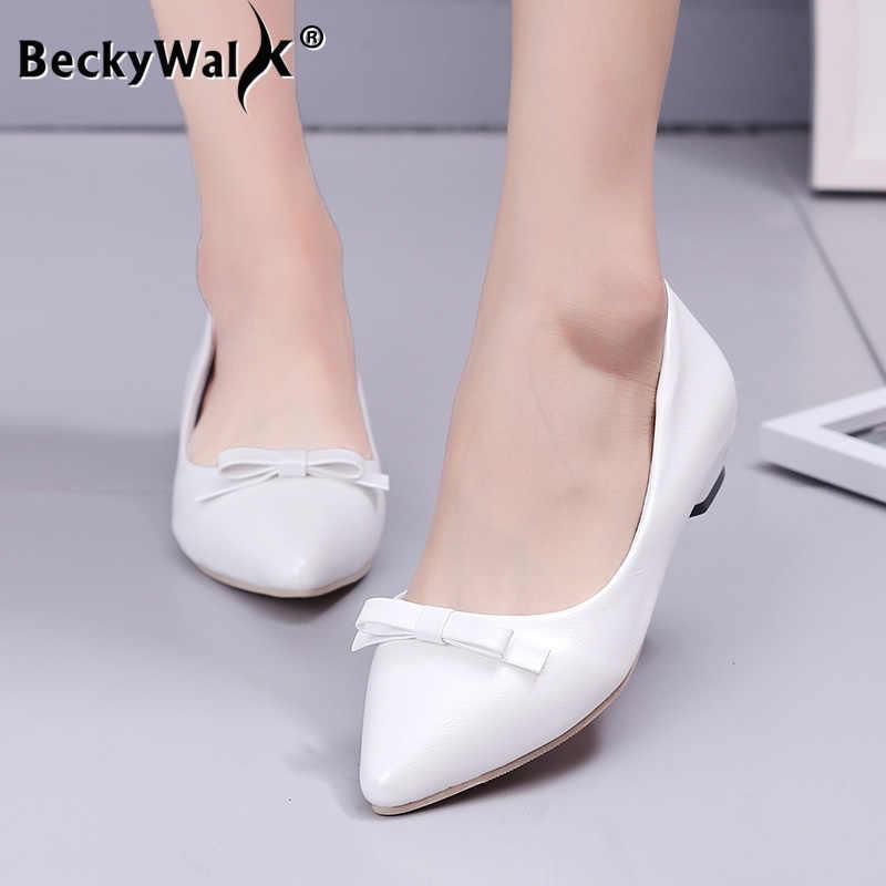 2020 Mới Mùa Xuân Và Mùa Thu Chỉ Dày Có Giày Đơn Nơ Nông Gót Thấp Nữ Với Đế Làm Việc giày WSH3178