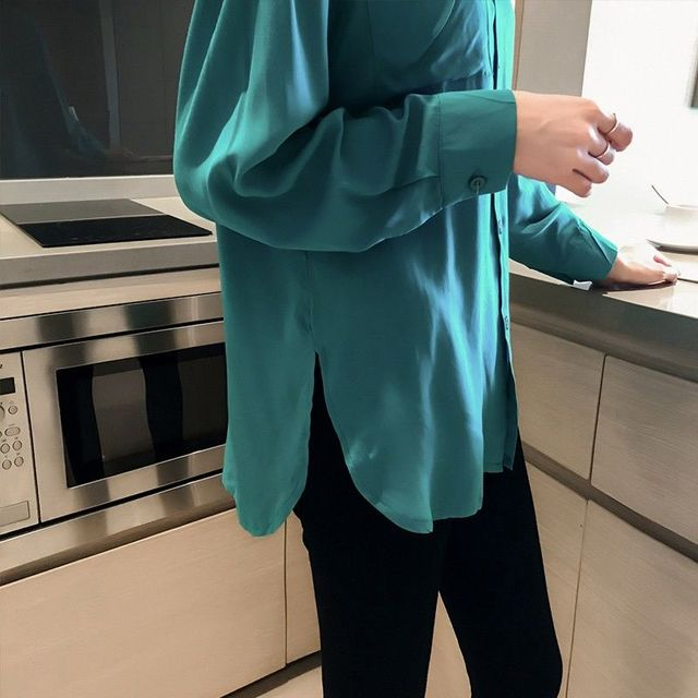 2020 Autumn Elegant Long Sleeve Solid Chiffon Blouse Female Work Wear Shirts Blouse Turn-down Collar Shirts Plus Size 4XL K113 4