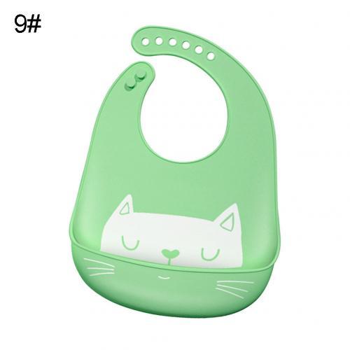 Водонепроницаемый Регулируемый нагрудник с животным принтом для малышей с карманом для кормления слюнявчик полотенце для еды аксессуар мягкий детский материал обеспечивает уход - Цвет: Green Cat