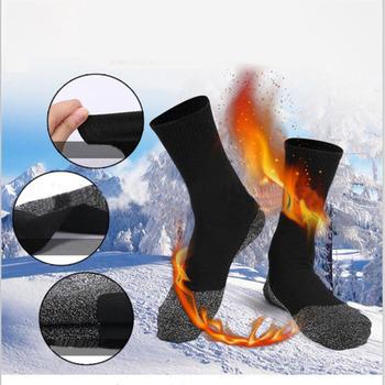 1 para ciepłe skarpetki aluminiowane włókna stopy ciepłe i suche izolacja cieplna czarny Unisex bezszwowa aksamitna buty podłogowe skarpetki do spania tanie i dobre opinie Podkolanówki Jazda na rowerze Winter Socks Woman Long Socks Heat Fiber Sock Aluminized fiber Black Large 8 - 12 9 - 12