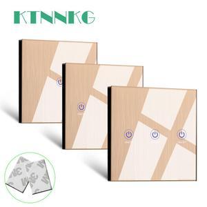 Image 1 - Ktnnkgゴールド 86 壁タッチリモコンワイヤレスrfトランスミッタ強化ガラスパネル + ledランプライトのための 433mhzのEV1527 チップ