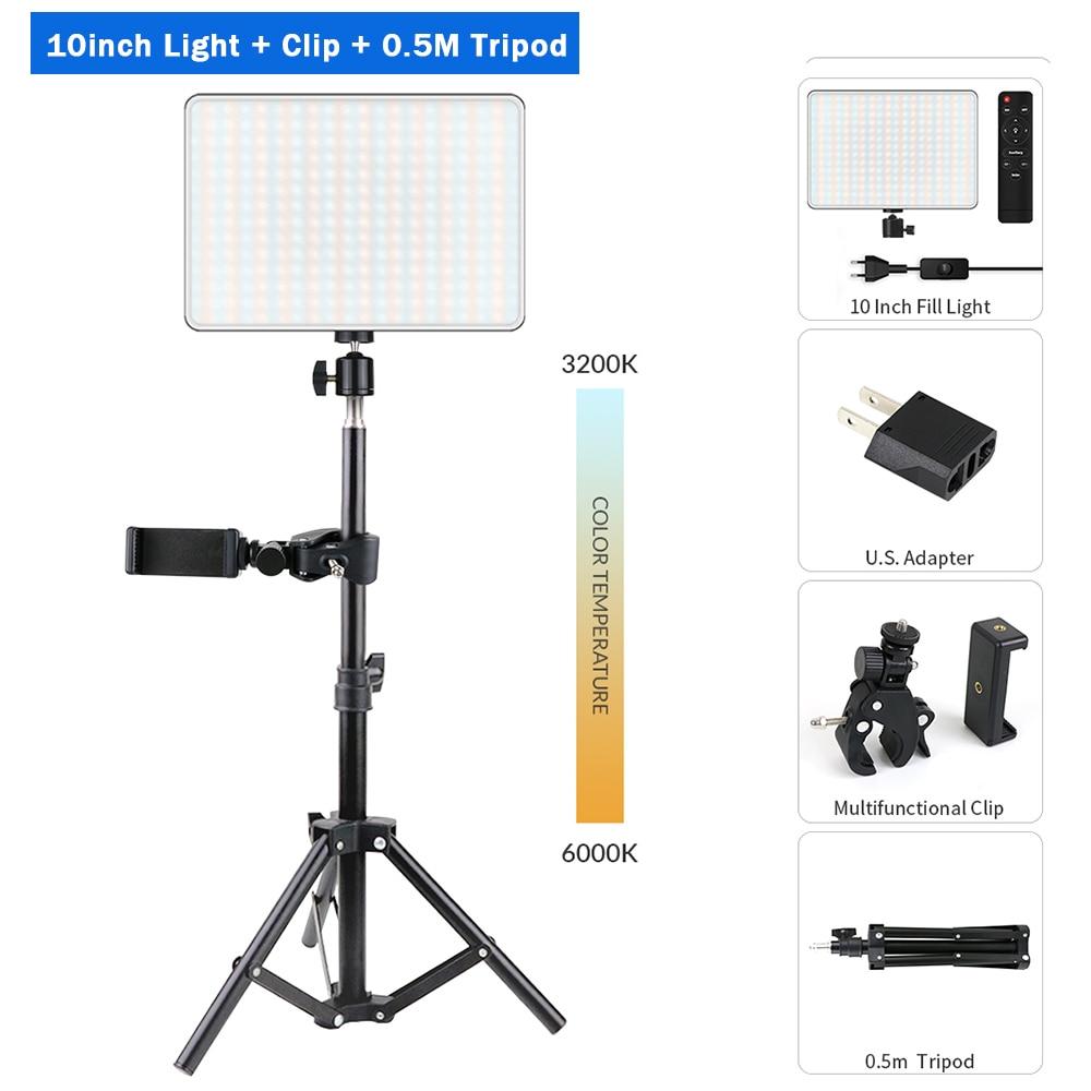 H8db88b58f1a145d19ead13ffe6556492v Dimmable LED Video Light Panel EU Plug 2700k-5700k Photography Lighting For Live Stream Photo Studio Fill Lamp Three Color