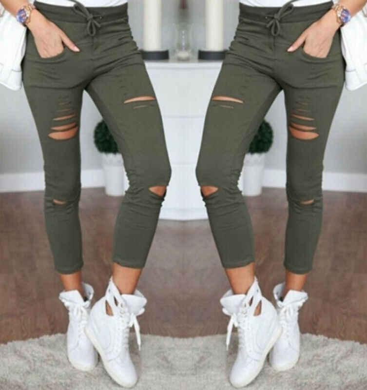 Yeni pamuk rahat kalem pantolon popüler kadın pantolon tayt delik sıska yırtık delik Denim kot yüksek bel streç ince