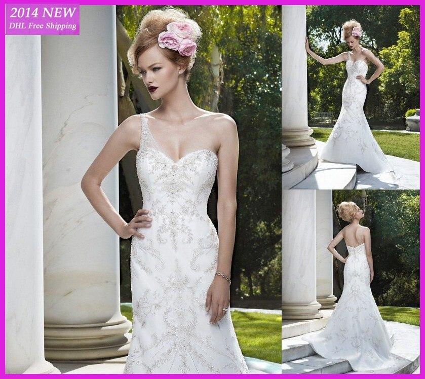 2019 Novo Elegante Querida Sereia Um Ombro Beading Vestidos De Noiva De Cetim Branco/vestido De Noiva Marfim Personalizado- Feit