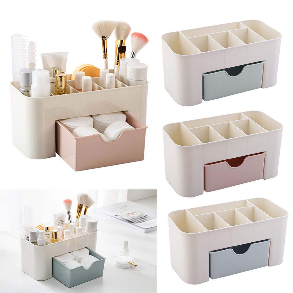 Urijk Plastic Makeup Organizers Box Jewelry Cosmetic Storage Box with Drawer Acrylic Lipstick Holder Sundries Case Container