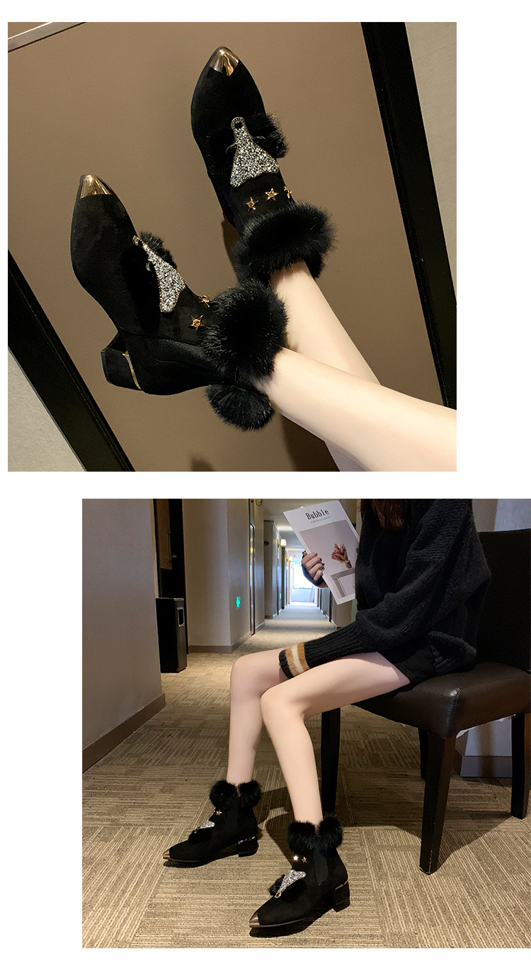 W- Thick and fashion trend new short boots warm daily non-slip increase height winter comfortable personality snow boots women 38