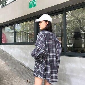 Image 5 - Рубашки женские свободные в Корейском стиле, модная однобортная Солнцезащитная рубашка в стиле Харадзюку, с длинным рукавом, для школьников и студентов, повседневные