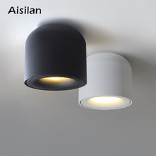 Aisilan superficie montada LED Downlight COB punto de luz para sala de estar, dormitorio, cocina, baño, pasillo, CA 90 v-260 v(China)