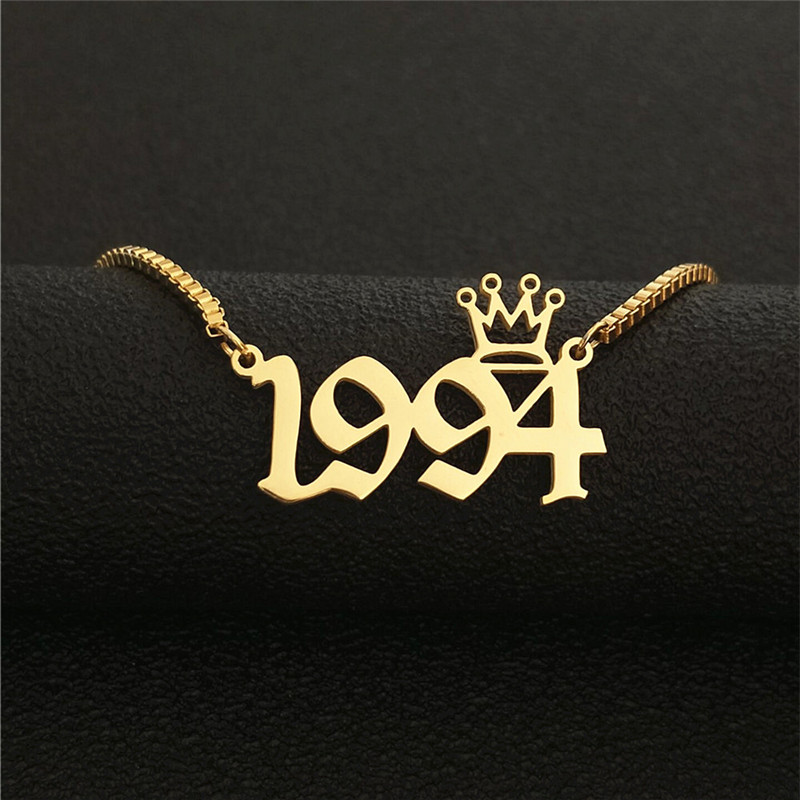 1994 Number Necklace For Women Special Date Year Old English Collier Boho Jewelry Stainless Steel Gold Silver Chain Crown Choker